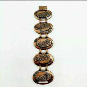 Jewelry - Vtg Copper Oval Station Articulated Bracelet Easel